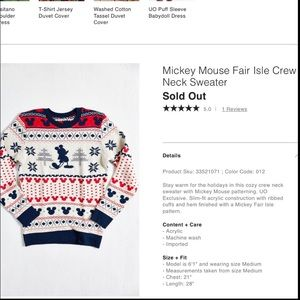 UO Mickey Mouse fair isle crew neck Disney sweater